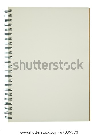 Opened spiral recycle notebook isolated on white background