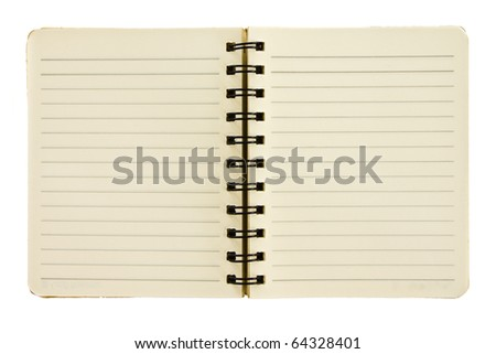 Opened spiral small size notebook on white background