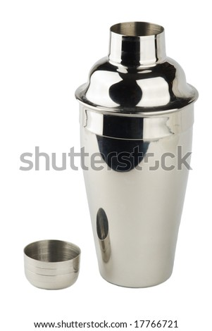 opened stainless steel shaker isolated - stock photo