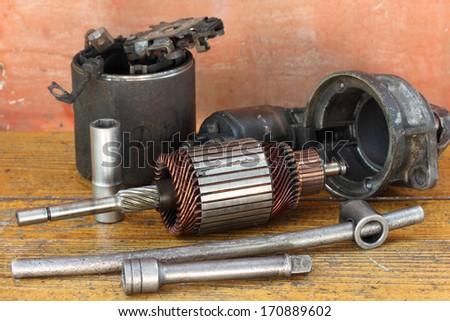 Opened starter motor - stock photo