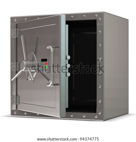 Opened Steel Safe with Electronic Lock on white background - stock photo