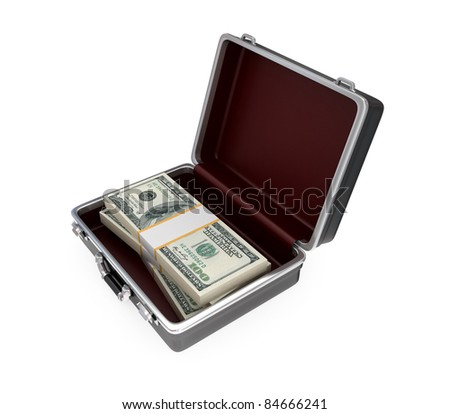 Opened suitacase and large dollars pack inside. Isolated on white background.
