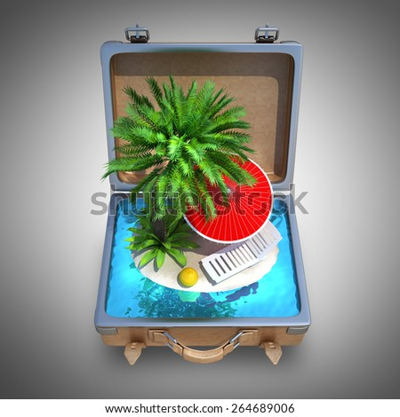 Opened Suitcase with a tropical beach inside. High resolution 3D