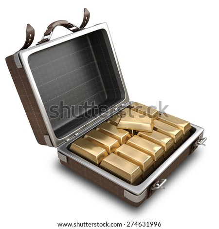 Opened Suitcase with Golden Bars inside isolated on white background. High resolution 3d - stock photo
