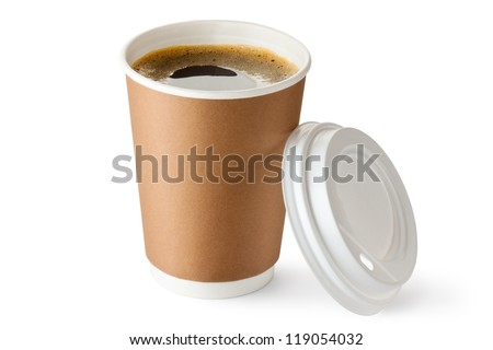 Opened take-out coffee in cardboard cup. Isolated on a white. - stock photo