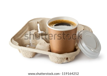 Opened take-out coffee in holder. Isolated on a white. - stock photo