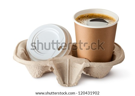 Opened take-out coffee in holder. Lid is near. Isolated on a white. - stock photo