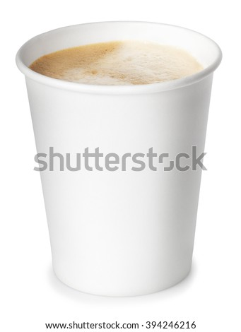 Opened take-out paper cup of coffee isolated on white background with clipping path - stock photo