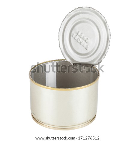Opened Tin can isolated on white, canned food