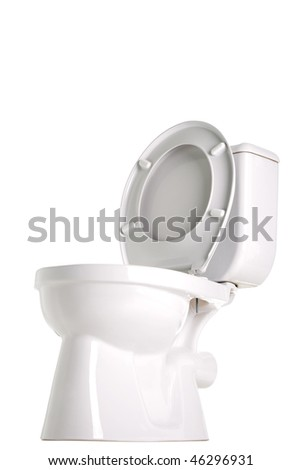 opened toilet, isolated on white - stock photo
