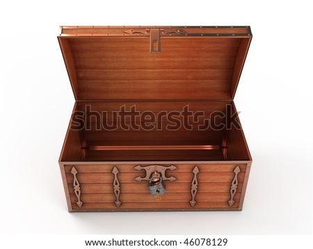 Opened treasure chest - stock photo
