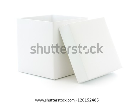 Opened white blank box isolated on white background