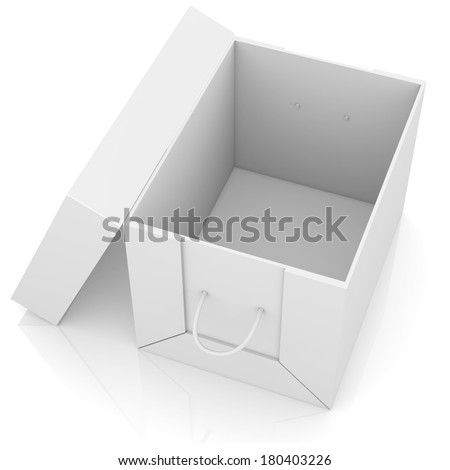 Opened white cardboard package box. Isolated on white background