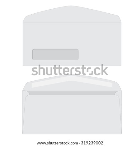 Opened white envelope with transparent window icon isolated. Front and back view envelope - stock photo