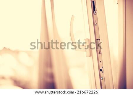 Opened white plastic window. - stock photo