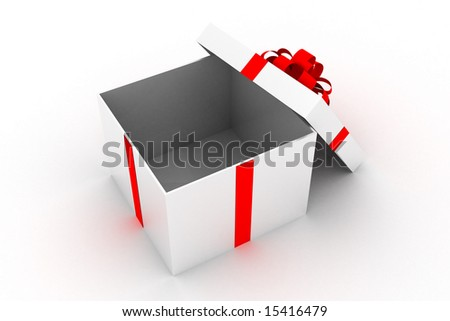 Opened white present box