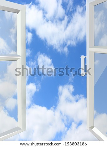 opened window to the heaven with white clouds