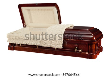 opened wood coffin isolated on white background. Ritual objects for burial. Conduct of the deceased on his last journey. Surrender body dust of the earth. Christian funeral ritual - stock photo