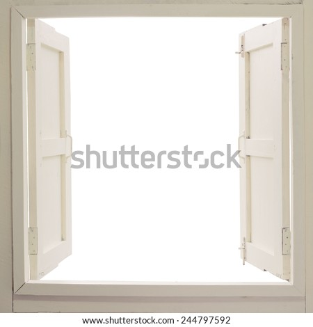 Opened wooden window on white background  - stock photo