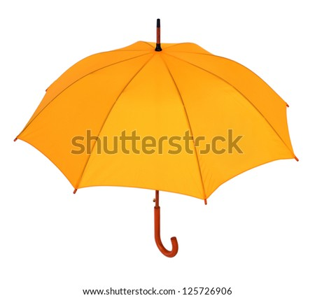 opened yellow umbrella isolated on white background - stock photo