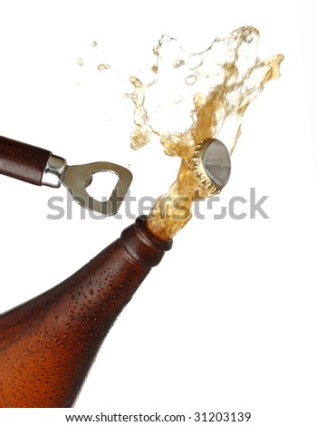 Opening a bottle of cold beer, splash image. White background - stock photo