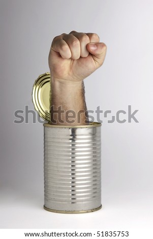 Opening a can of whoopass - stock photo