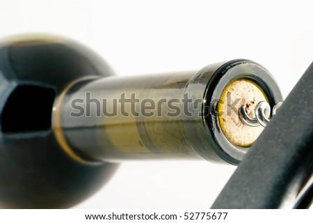 Opening a wine bottle - stock photo