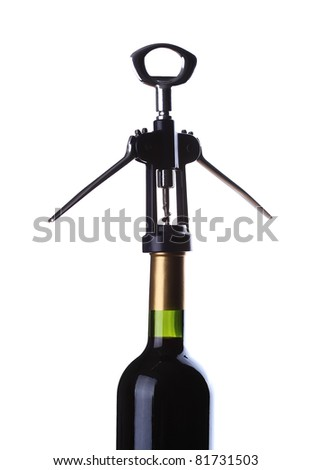 Opening bottles of wine isolated on white background