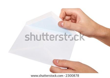 opening envelope - stock photo