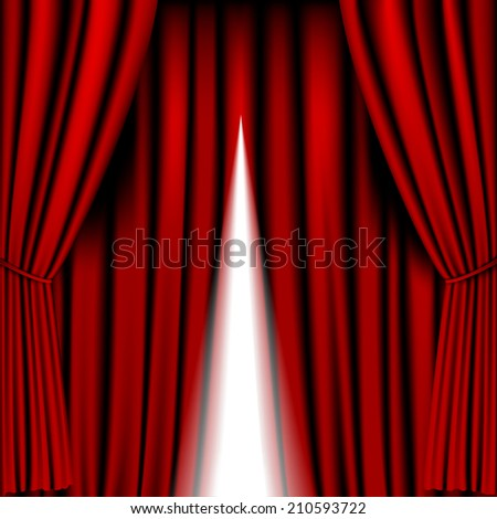 opening red curtain vector for background - stock photo