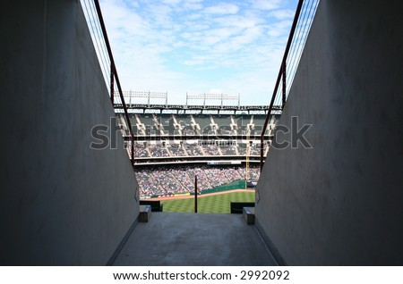 Opening to a ballpark game - stock photo