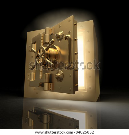 Opening vault and volume light on black background. 3d - stock photo