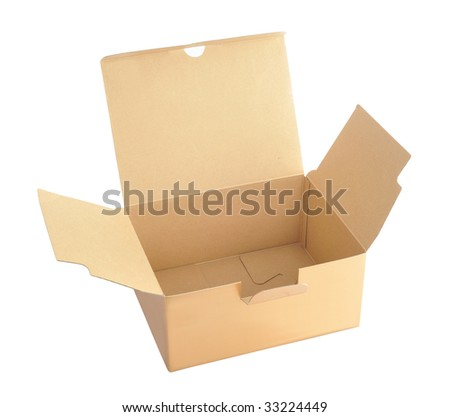 Opens box isolated in white background - stock photo