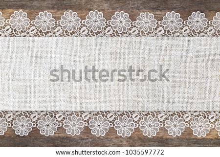 Openwork Lace White Linen Frame On Wooden Grey Rustic Background Text Place Copy Space
