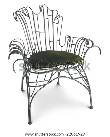 openwork metal chair - stock photo