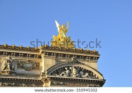 Opera Garnier is important construction in Paris - stock photo