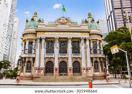 Opera House (Teatro Municipal) in Rio de Janeiro, Brazil ,  Latin America. - stock photo