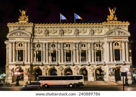 Opera National de Paris in the nighttime. Grand Opera (Garnier Palace) is famous neo-baroque building in Paris, France - UNESCO World Heritage Site. - stock photo