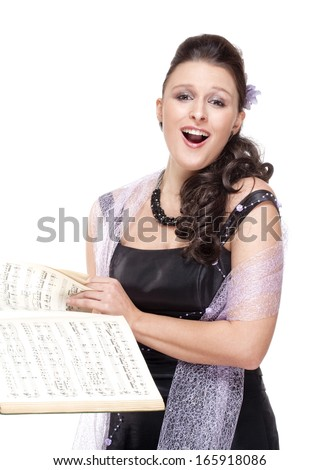 Opera Singer in her Stage Dress - Isolated on White  - stock photo