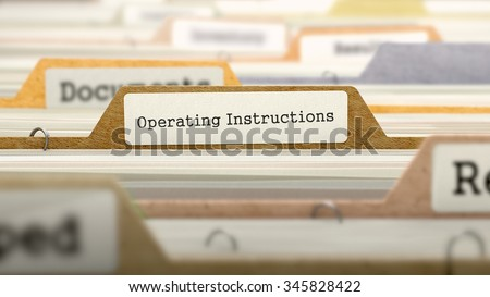 Operating Instructions Concept. Colored Document Folders Sorted for Catalog. Closeup View. Selective Focus. - stock photo