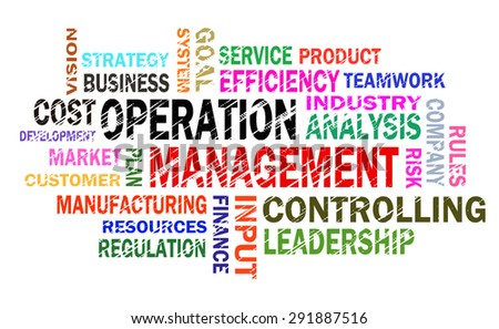 operation management word cloud  - stock photo