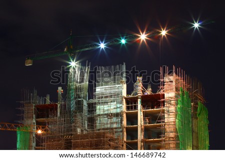 Operation of the building, Operation in the night , Worker is working. - stock photo
