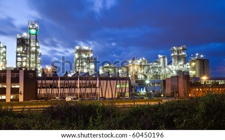 Operational petrochemical plant in twilight (Antwerp port, Belgium)