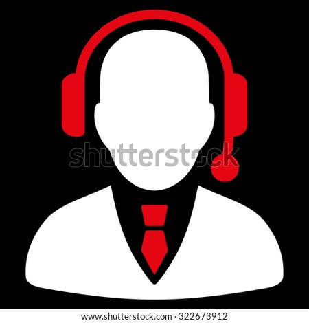 Operator glyph icon. Style is bicolor flat symbol, red and white colors, rounded angles, black background. - stock photo