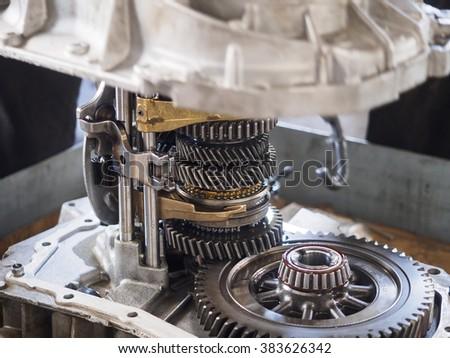 operator repair gear box of automotive engine - stock photo