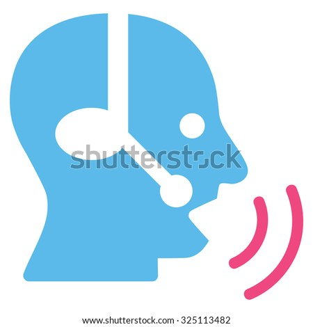 Operator Signal illustration icon. Style is bicolor flat symbol, pink and blue colors, rounded angles, white background.