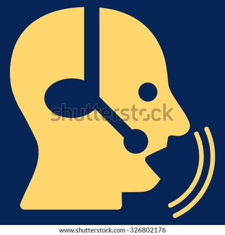 Operator Speech illustration icon. Style is flat symbol, yellow color, rounded angles, blue background.