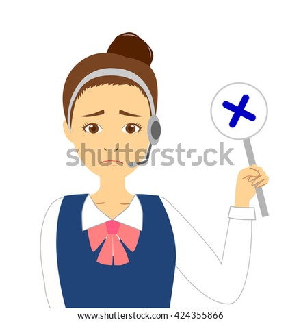 Operator woman showing an incorrect answer - stock photo