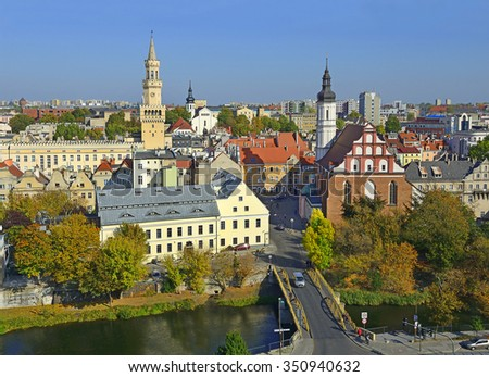 Opole, The historic city center. Opole is a city in southern Poland on the Oder River  - stock photo