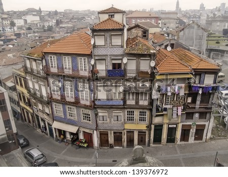 Oporto, December 2012. Resident houses on downtown, UNESCO World Heritage Site. - stock photo